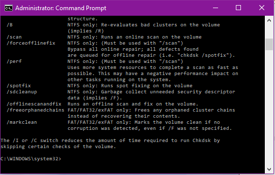 Chkdsk from command prompt