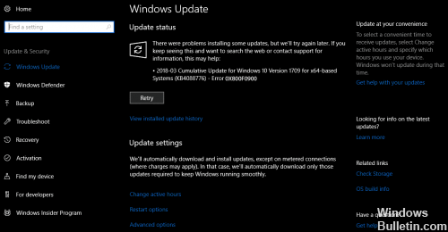 Repair Guide- 0x800f0900 Update Error in Windows 10