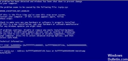 tcpip.sys Blue Screen of Death