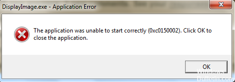 0xc0150002 Application Error