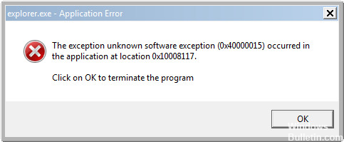 How to Fix Unknown Software Exception 0x40000015
