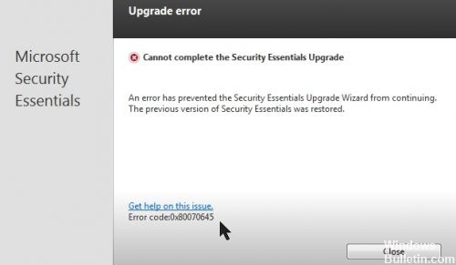 Microsoft Security Essentials Error 0x80070645