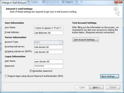 Verify Outlook settings