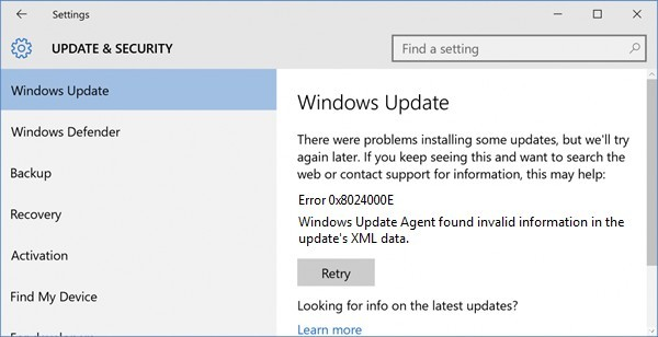 Fixing Windows Update Error 0x8024000E - Windows Bulletin Tutorials