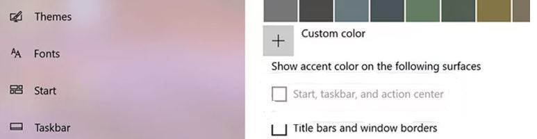 Can't change the color of the taskbar in Windows 10