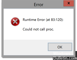 Malwarebytes runtime error - Could not call proc