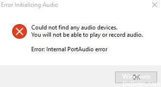 How to fix Audacity: 'Internal PortAudio error' in Windows 10