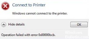 0x00000bcb network printer error
