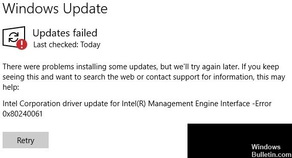 error 0x80240061 when installing the Intel Management Engine Interface driver